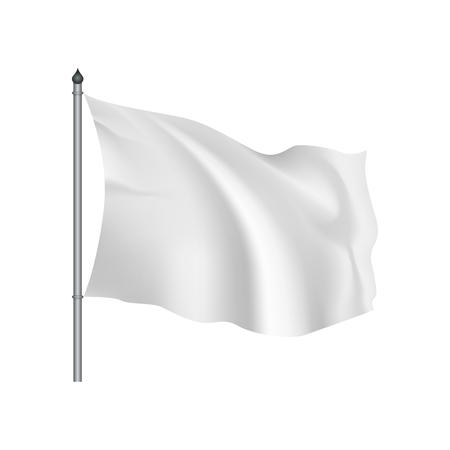 Blanc drapeau flottant dans le vent sur un fond blanc
