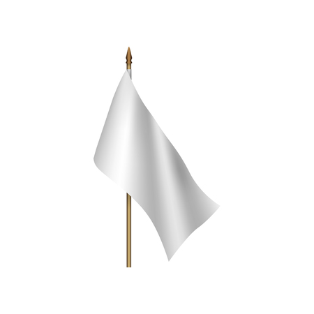 defeat: White flag waving on the wind on a white background Illustration