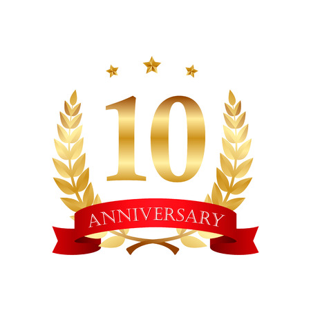 10 years anniversary golden label with ribbons on a white background