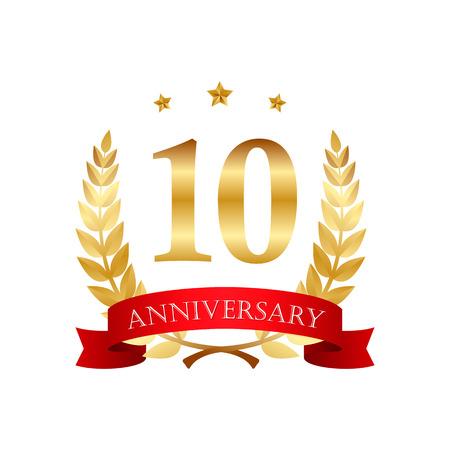 10 jaar jubileum gouden label met linten op een witte achtergrond
