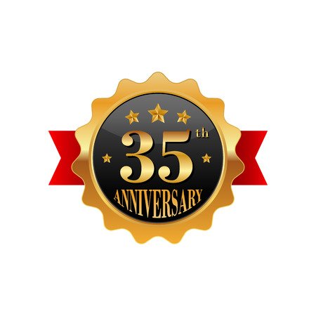 35: 35 years anniversary golden label on a white background