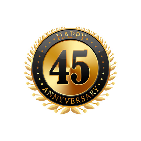45th: 45 years anniversary golden label on a white background