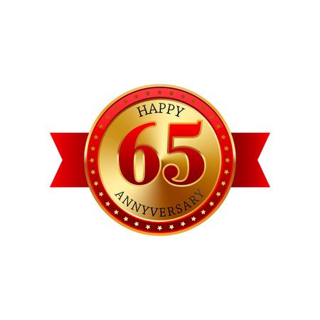 65 años de aniversario de la etiqueta de oro con las cintas sobre un fondo blanco