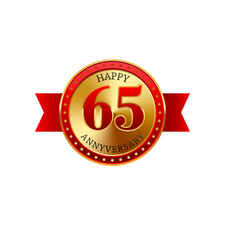 65th: 65 years anniversary golden label with ribbons on a white background