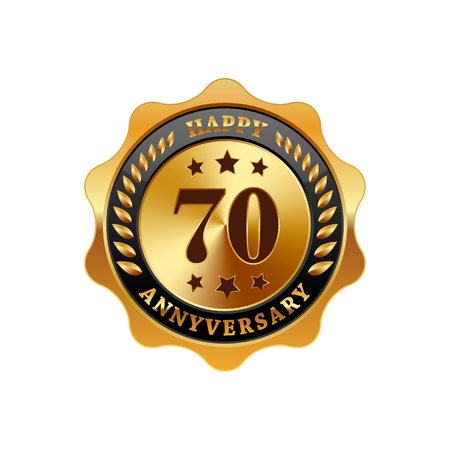 70 years: 70 years anniversary golden label on a white background