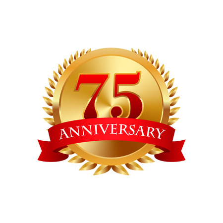 badge: 75 years anniversary golden label with ribbons on a white background Illustration