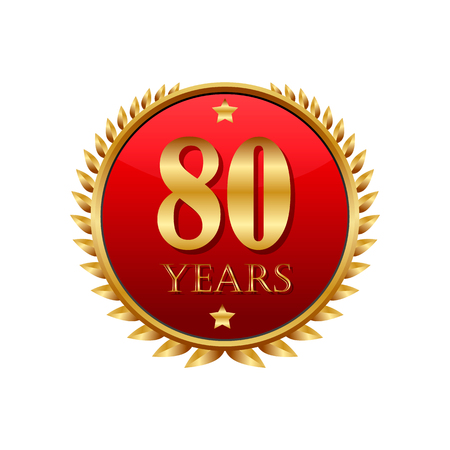 80 years: 80 years anniversary golden label on a white background Illustration