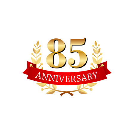 golden ribbons: 85 years anniversary golden label with ribbons on a white background Illustration