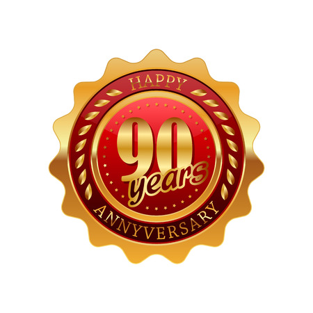 90 years: 90 years anniversary golden label on a white background