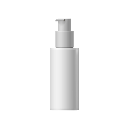 cosmetic bottle: White blank cosmetic bottle with batcher on a white background