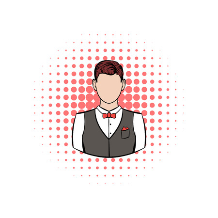waistcoat: A man in white shirt black waistcoat and red bow tie comics icon on a white background