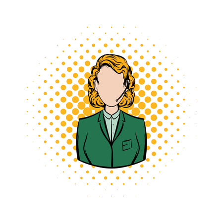 call centre girl: Woman in a green blazer with headset comics icon on a white background Illustration