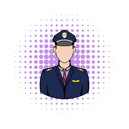 aircrew: Captain of the aircraft comics icon on a white background