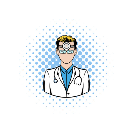 frontal: Doctor with stethoscope and reflector frontal of otolaryngologist comics icon on a white background