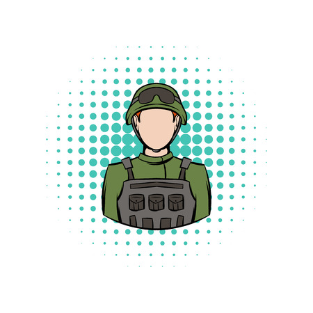 infantryman: Soldier comics icon on a white background