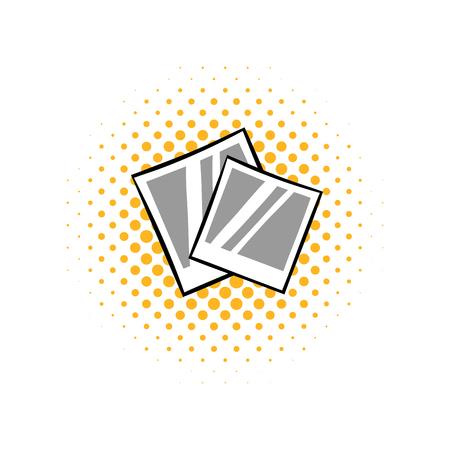 photoalbum: Retro photo frame polaroid comics icon on a white background Illustration