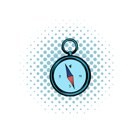 direction magnet: Compass comics icon on a white background Illustration