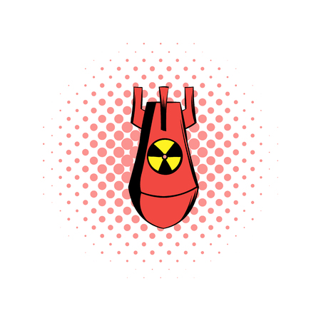 atomic bomb: Atomic red bomb comics icon on a white background