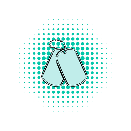 dogtag: Soldier identity tag comics icon on a white background