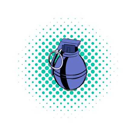 lanzamiento de bala: Granada icono de cómics sobre un fondo blanco