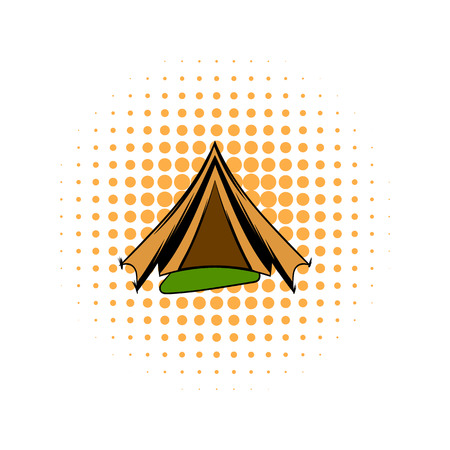 tarpaulin: Military tent comics icon on a white background Illustration