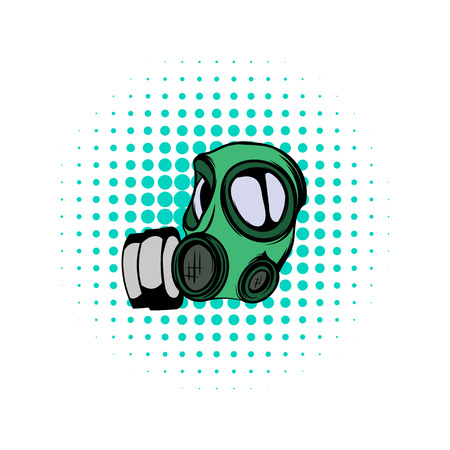 nuclear fear: Gas mask comics icon on a white background Illustration