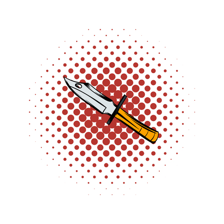Hunting knife comics icon on a white background