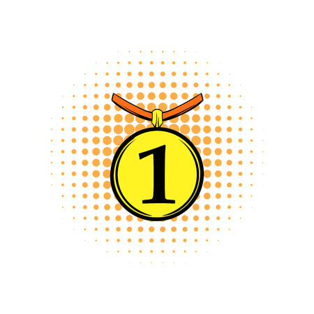 1st place: 1st place medal comics icon isolated on white background