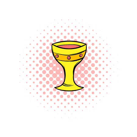 mediaval: Medieval gold cup comics icon. Isolated on a white background
