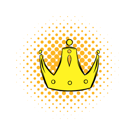 kinetic: Gold crown comics icon. Single illustration isolated on a white Illustration