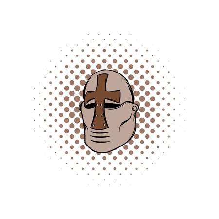 crusader: Crusader knight helmet comics icon on a white background Illustration