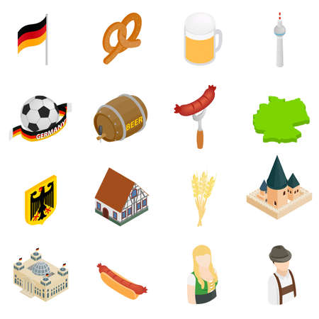 germanic people: Germany isometric 3d icons set isolated on white background Illustration