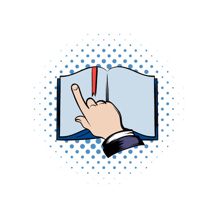 studing: Open book with showing finger comics icon. Learning process symbol isolated on a white Illustration