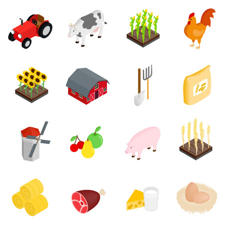 3d icons: Farm isometric 3d icons set isolated on white background