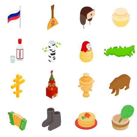 3d icons: Russia isometric 3d icons set isolated on white background
