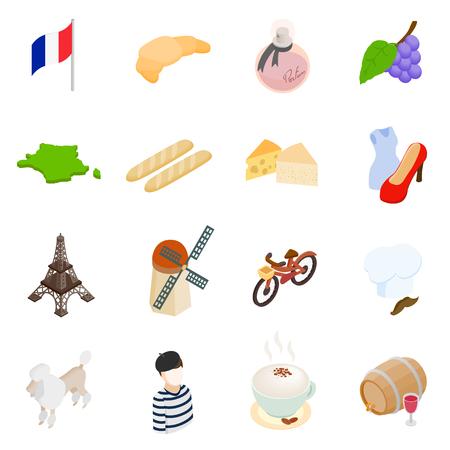 Francia iconos 3d isométrica conjunto aislado sobre fondo blanco