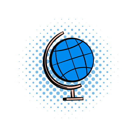 geographical: School geographical globe comics icon. Globus illustration isolated on a white