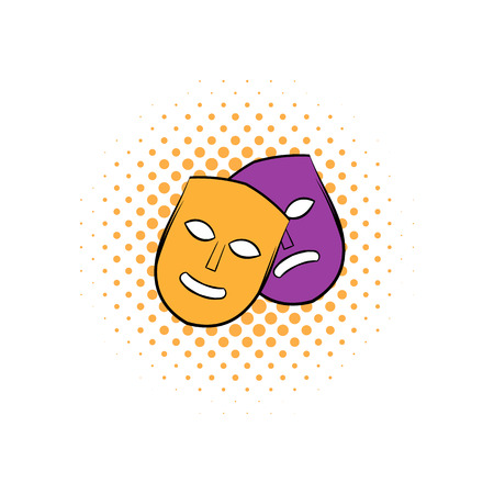 moods: Theater comics icon with happy and sad masks. Yellow and purple masks