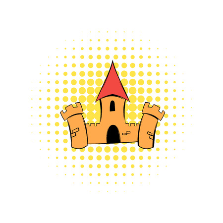 donjon: Medieval castle fortress comics icon. With donjon tower. Single symbol on a white Illustration