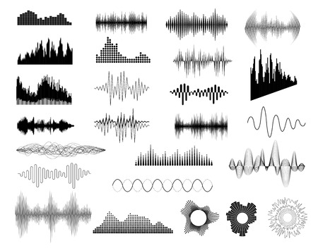 Sound waves set on white for any design Vettoriali
