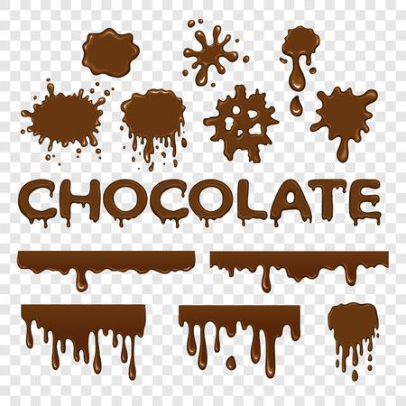 초콜릿 플랫 컬렉션은 투명 배경에 설정