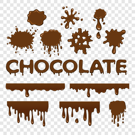 Chocolate splat collection set on transparent background