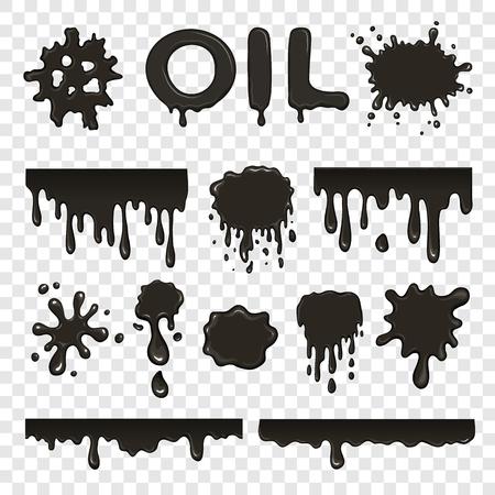 collection huile ou de pétrole floc mis sur fond transparent
