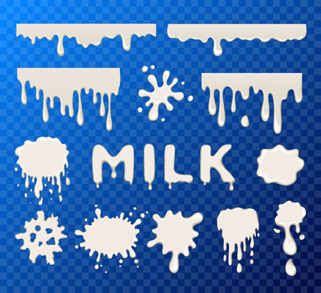 splat: Milk splat collection set on transparent background