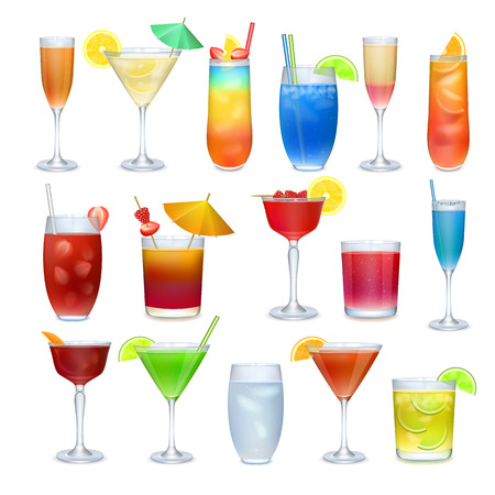 cartoon party: Alcohol coctails and other drinks realistic set on white background