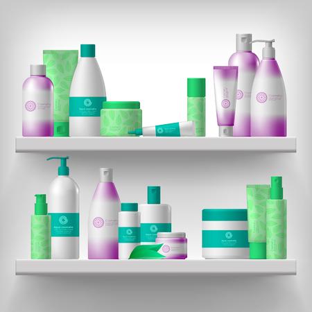 Femme emballages cosmétiques et de soins de beauté de l'hygiène produits sur les étagères conception réaliste Vecteurs