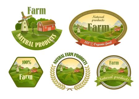 logo de comida: Agrícolas frescos emblemas, insignias y elementos del diseño para su diseño