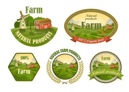 farm fresh: Farm fresh emblems, badges and design elements set for your design