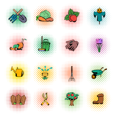 raking: Garden comics icons set isolated on white background