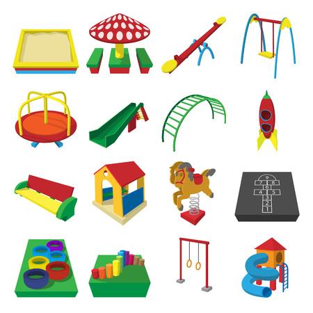 sandbox: Playground cartoon icons set isolated on white background Illustration